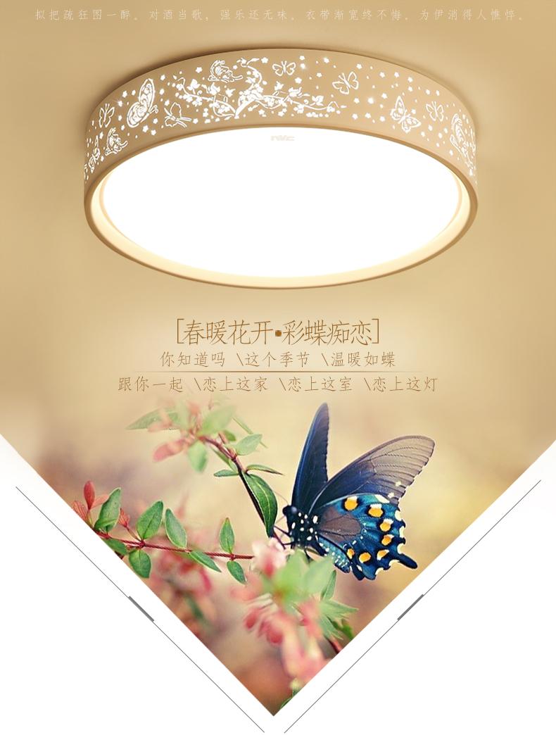 雷士照明(NVC)led吸顶灯卧室灯 时尚浪漫餐厅儿童房灯具 圆形单色白光24W-京东