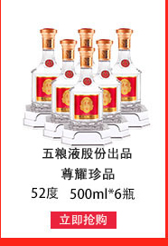 五粮液股份 尊耀精品级 52度 浓香型白酒 500ml*6瓶 整箱装-京东