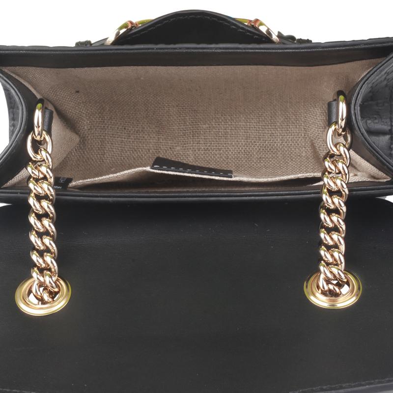 3491423d7 GUCCI Gucci Women's Black Leather Horseshoe Buckle Tassel Chain Bag ...